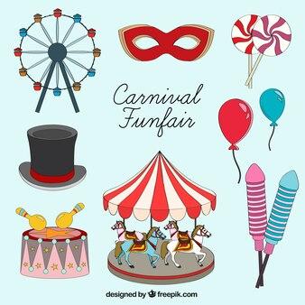 Elementos ilustrados de carnaval feria