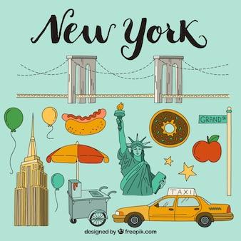 Elementos ilustrados de Nueva York