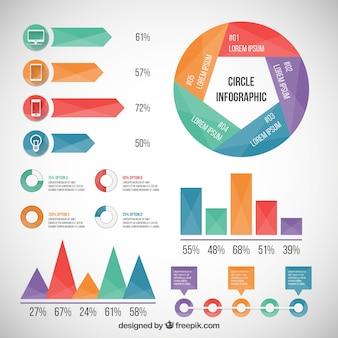 Elementos infográficos de colores