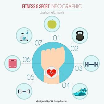 Elementos infográficos de deporte y fitness