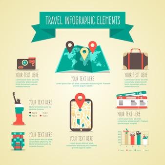 Elementos infográficos de viaje en estilo plano y vintage