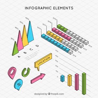 Elementos infográficos dibujados a mano en estilo isométrico