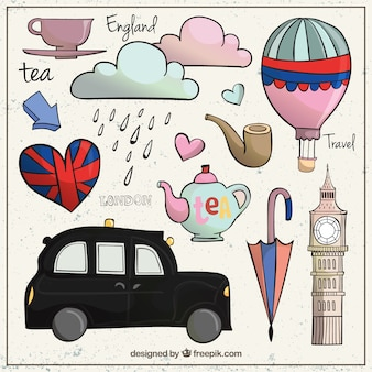 Elementos londinenses bonitos en estilo esbozado