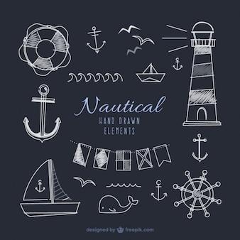 Elementos marineros dibujados a mano en efecto pizarra