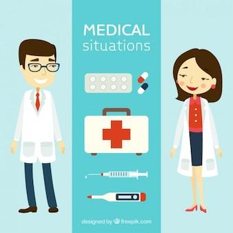 Elementos médicos y personajes