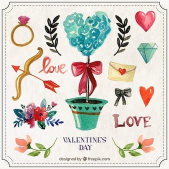 Elementos ornamentales para el día de valentín pintados a mano
