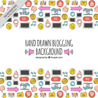 Elementos para blog dibujados a mano, a todo color