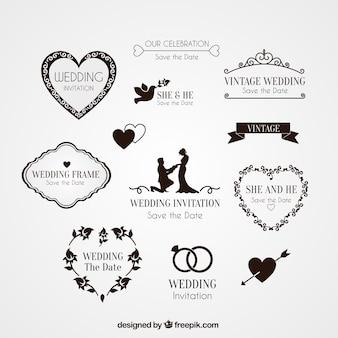 Elementos para invitación de boda