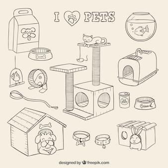 Elementos para mi adorable mascota dibujados a mano