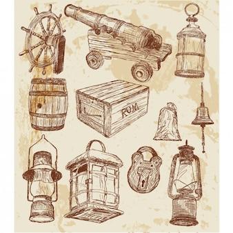 Elementos pirata bocetados