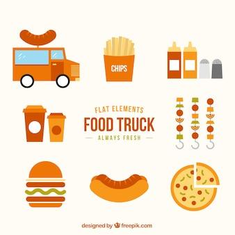 Elementos planos de camioneta de comida