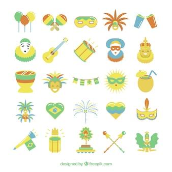 Elementos planos de carnaval en color amarillo