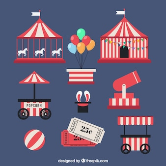 Elementos planos de circo en color rojo