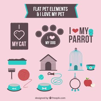 Elementos planos de mascota