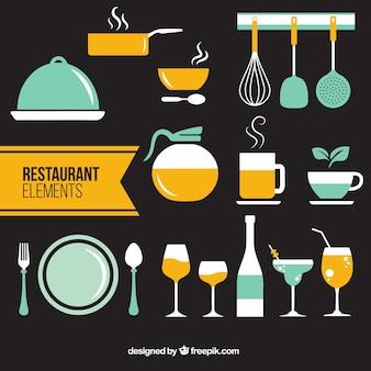 Elementos planos de restaurante en dos colores
