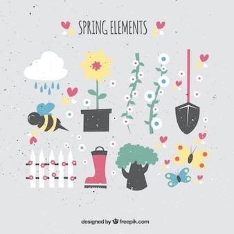 Elementos primaverales en estilo plano