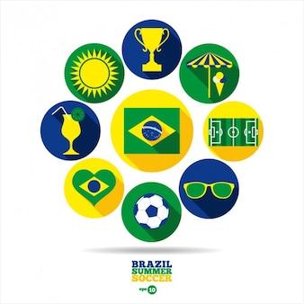 Elementos redondos del evento de verano de fútbol de Brazil