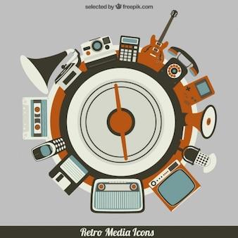 Elementos retro multimedia circular