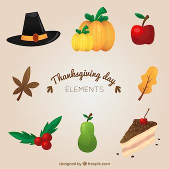 Elementos tradicionales para el día de acción de gracias