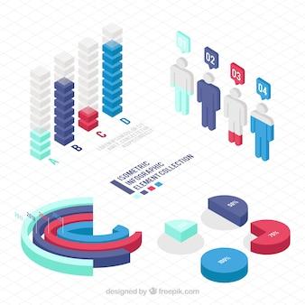 Elementos útiles para infografías en diseño isométrico