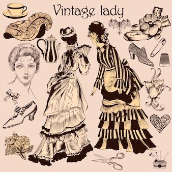 Elementos vintage de mujer