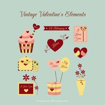 Elementos vintage de san valentín
