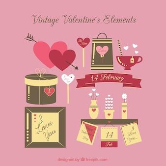 Elementos vintage de valentín