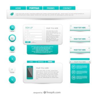 Elementos web turquesas y blancos
