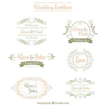 Emblemas de boda ornamentales