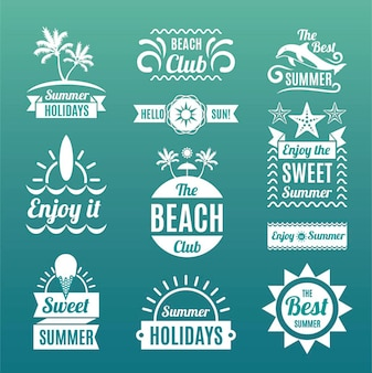 Emblemas de verano en estilo retro
