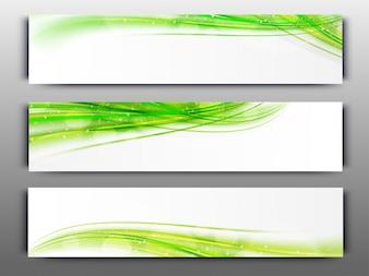 Encabezados de sitios web o banners con ondas verdes.