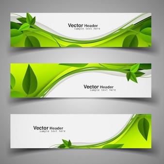 Encabezados verdes de naturaleza con hojas