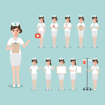 Enfermera en diferentes posiciones