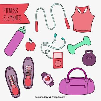 Equipamiento de fitness dibujado a mano