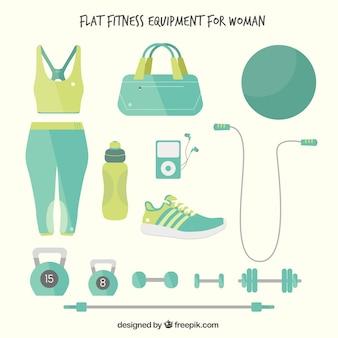 Equipamiento de fitness plano para mujer dibujado a mano