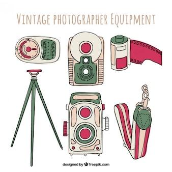 Equipamiento de fotografía dibujado a mano
