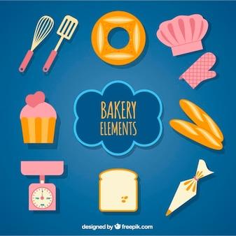 Equipamiento de panadería en diseño plano