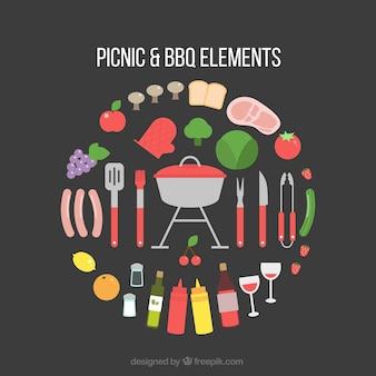 Equipamiento de picnic y barbacoa en diseño plano