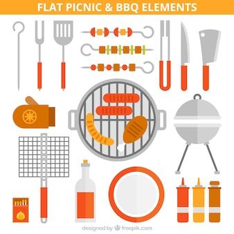 Equipamiento de picnic y barbacoa plano
