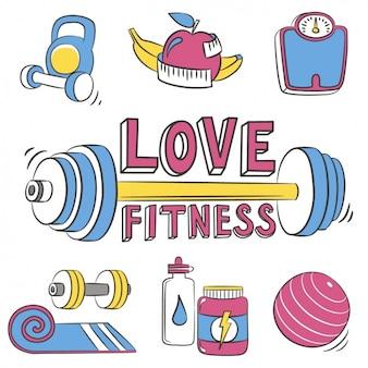 Equipo de fitness, dibujado a mano