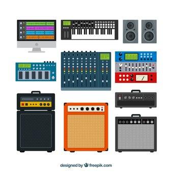 Equipo técnico de música en diseño plano