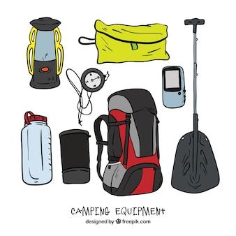 Equipos dibujado a mano para acampar