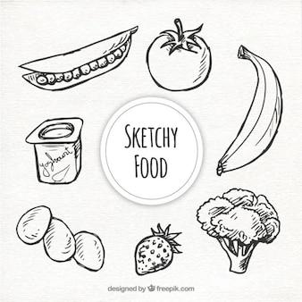Esbozo de colección de comida en blanco y negro