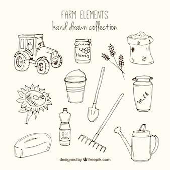Esbozos de herramientas de granja y elementos