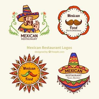 Esbozos de logotipos de comida típica mexicana