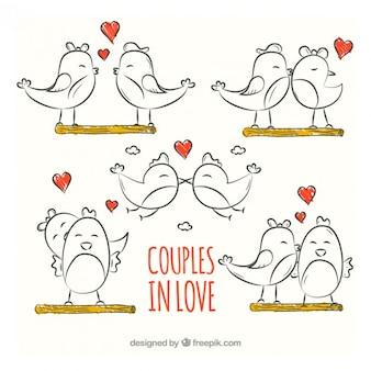 Esbozos de parejas de pájaros enamorados
