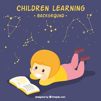 Escena bonita de niña leyendo