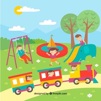 Escena colorida de niños jugando en el parque