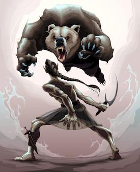 Escena de batalla entre un elfo y un oso enojado