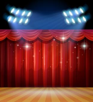 Escena de fondo con cortinas de luz y de color rojo en la etapa